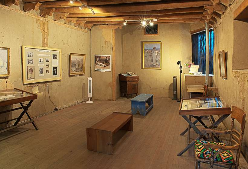 Interior of Sharp's first studio, now used for exhibitions.